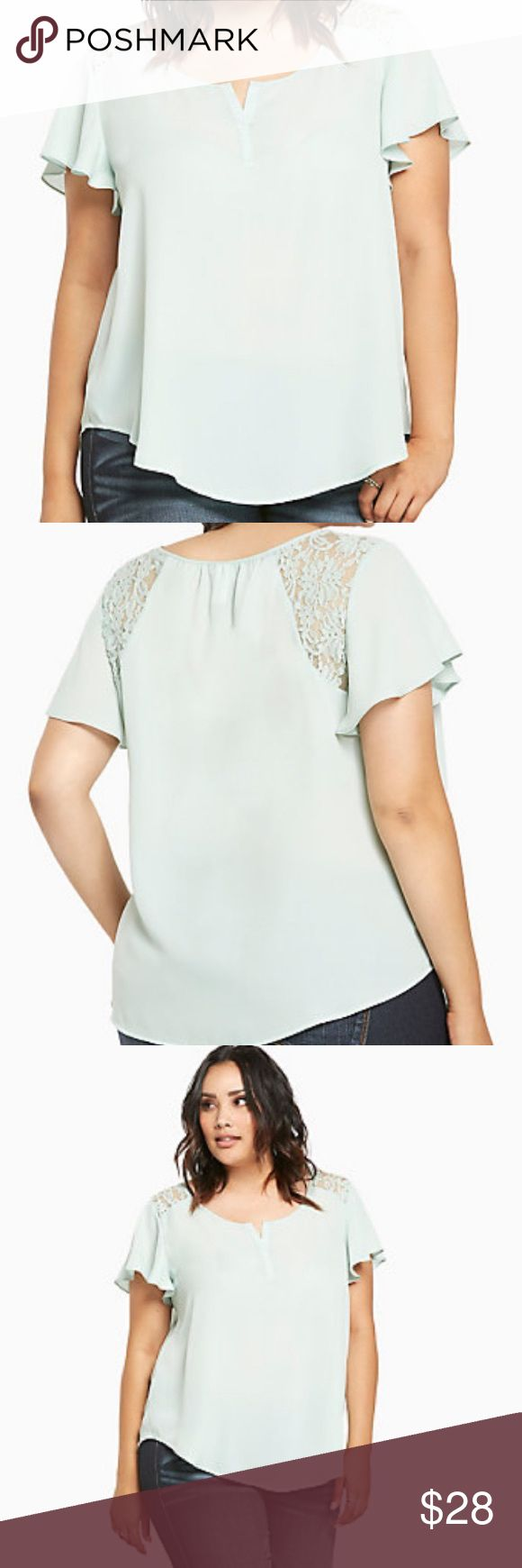 Lace Inset Flutter Sleeve Top Mint green georgette offers the easy-breezy look you crave, with a placket collar for added sophistication. Lace insets + flutter sleeves rewrite your romantic looks. (Worn only once or twice, great condition, no rips or stains)  ((PRICE HAS BEEN LOWERED, NO OTHER OFFERS WILL BE TAKEN)) torrid Tops Blouses