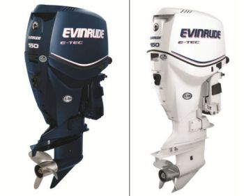 Evinrude E-TEC 150: Available in either blue or white, this popular model offers all the advantages of the largest engines in the product lineup.