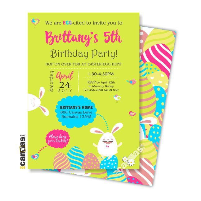 Bunny Birthday Invitation, Girl Easter Egg Hunt Birthday, Girls 1st Birthday. EASTER First Birthday, Easter Luncheon, Easter Brunch 413 by 800Canvas on Etsy