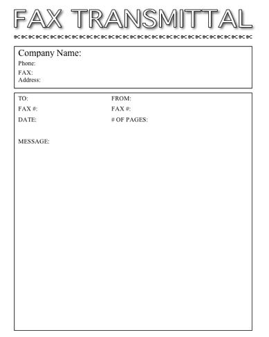 this printable fax cover sheet is basic in format with fax transmittal in outline letters its simple and gets the job done free to download and print