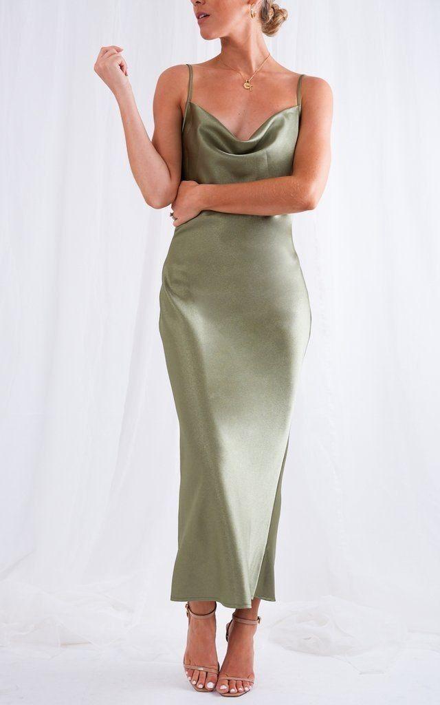 Modismofashionstyle In 2020 Green Silk Dresses Sage Green Bridesmaid Dress Trending Dresses