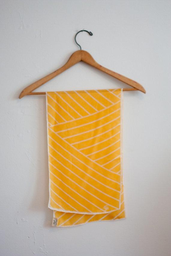 Vintage silk scarf / yellow and white geometric print $11.84 #geometric #pattern