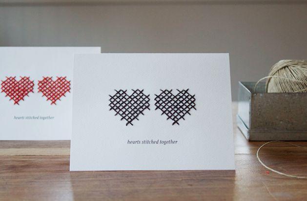 cross-stitch valentine.   *swoon*: Craft, Idea, Valentines, Hearts Stitched, Valentine Cards, Stitched Heart, Cross Stitches