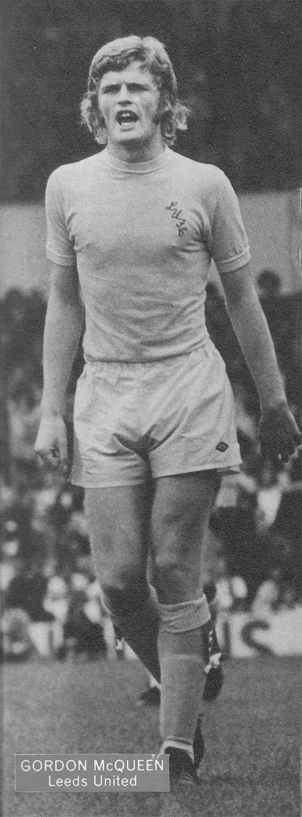 2nd September 1973. Centre half Gordon McQueen still wearing the old still yellow away kit for the visit to White Hart Lane to play Tottenham Hotspur