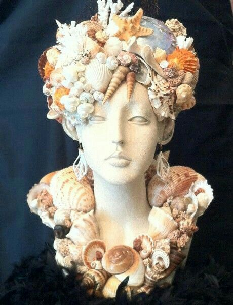 mannequin head with seashells art wow sea shell craft. Black Bedroom Furniture Sets. Home Design Ideas