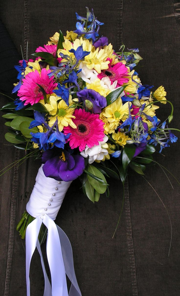 Yellow Daisies Hot Pink Gerbera Purple Lisianthus And Blue Delphinium WeddingsBlue Wedding BouquetsFlowers