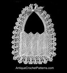 Crochet Baby Bib Pattern - Baby Bib Pattern - this is for special holiday outings ... or else, baby's in the 40s were a lot neater!