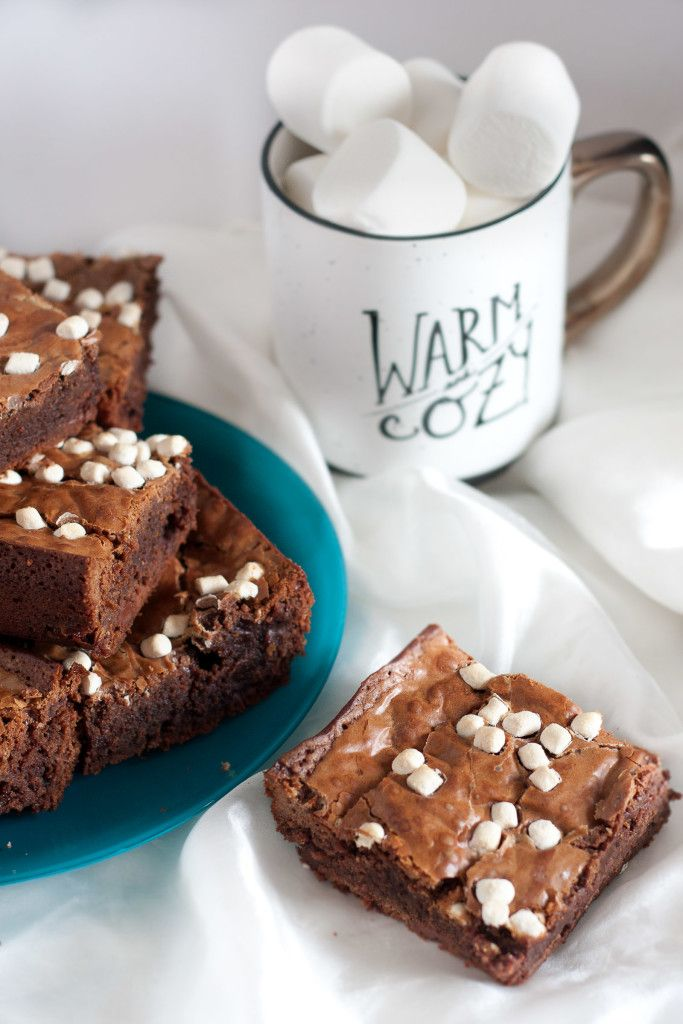 To die for caramel hot chocolate brownies! A fudgy, creative dessert recipe using hot chocolate mix. Drizzle with extra caramel after baking for a super decadent treat.