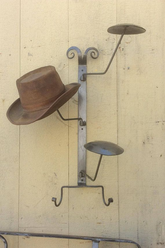 Hat Rack Hangs On The Wall Arms Swivel And Is Hand Forged Etsy Hat Rack Diy Hat Rack Hanger Decor