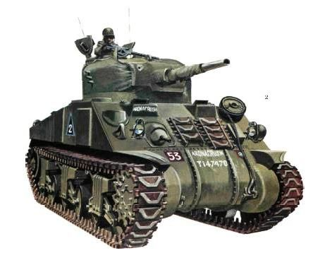 Sherman I, Escuadrón I, 2° batallón Acorazado de Guardias Irlandeses; Normandía 1944. El nombre de este carro es Ardnacrush en letras blancas dos veces sobre el frontal del casco, el número de serie es T147470, el color es el normal verde bronce apagado con el tiempo y muy parecido al usado por los americanos de su verde oliva.
