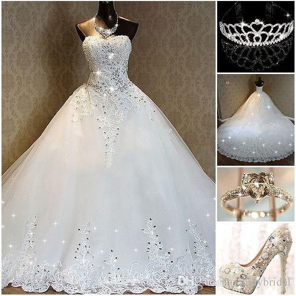 2016 Wedding Dresses Cathedral Bridal Gowns Sweetheart Corset Beaded Appliques A Line Luxury Real Pictures Princess