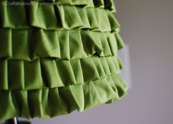 DIY ruffles for a plain lamp.  I've got two in my bedroom that need this kind of treatment.