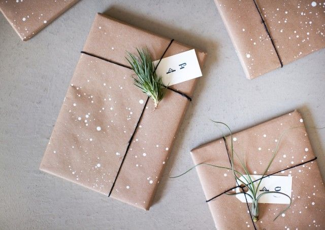 Gift wrapping ideas. Christmas pine and faux snow dashed