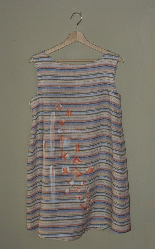 Cotton trapeze shift dress, handmade fulfill  and painted.