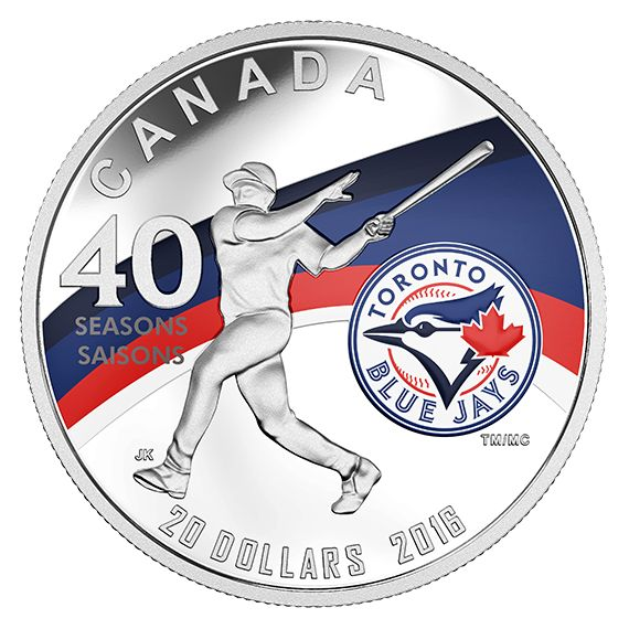 1 oz. Pure Silver Coin - Celebrating the 40th Season of the Toronto Blue Jays (2016)