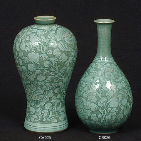 Korean Celedon pottery.