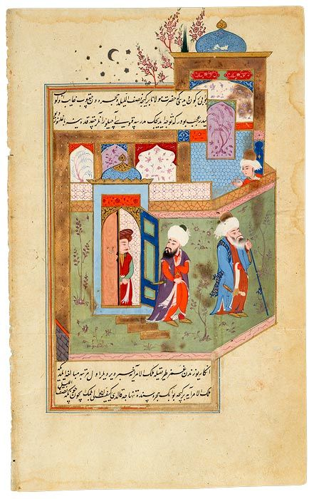 """Rumi Leaves the Halawiyya Madrasa at Aleppo at Midnight Followed by his Teacher Kamal Al-Din Ibn Cadim, Ruler of Aleppo. In Turkish. The translation was ordered in 1590 by Sultan Murād III (r. 1574–95) from the Persian abridgement of Aflākī. Baghdad, 1590s."" From the Morgan Library and Museum. I love the way the art conveys a three-dimensional space."