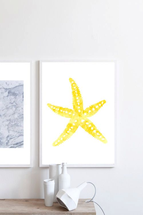 Watercolor painting Starfish painting Starfish by simplegeometry