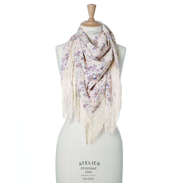 Vierkante sjaal met paisleyprint en franjes | Veritas