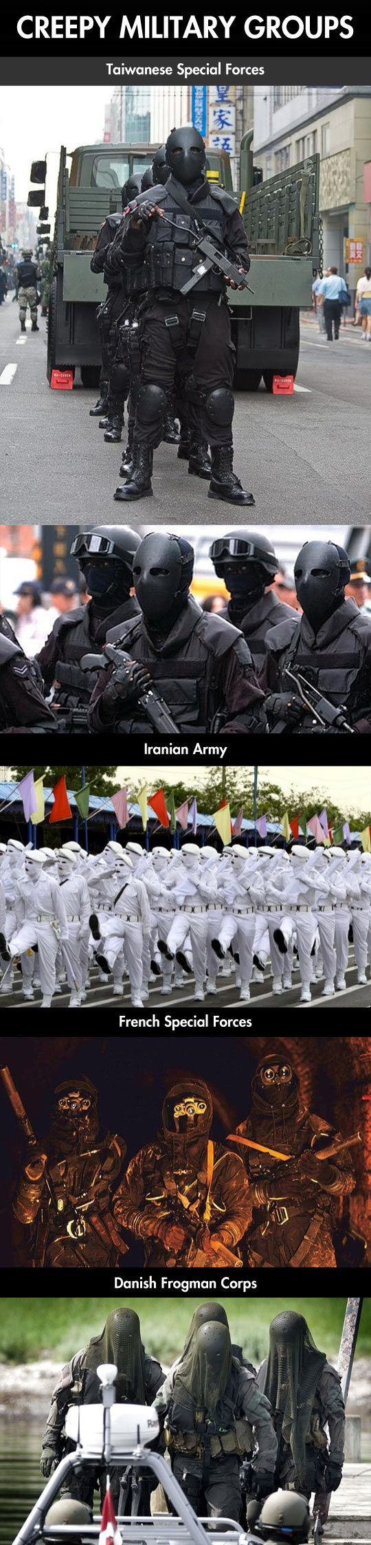 Creepiest military forces around the world… :: Um, the guys in white reminded me of mimes who had lost their minds. Odd....