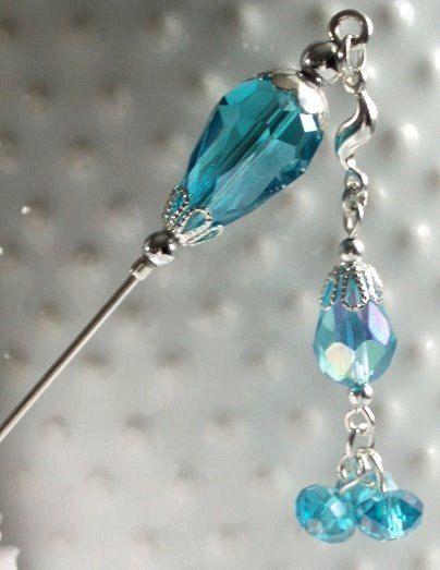 Aqua Blue and Silver Hijab Pin/Hat Pin/Stick by jewels4hijabs, $6.50