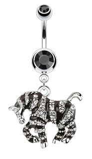 Jewelled Zebra Belly Ring - Striped Zebra Body Jewellery