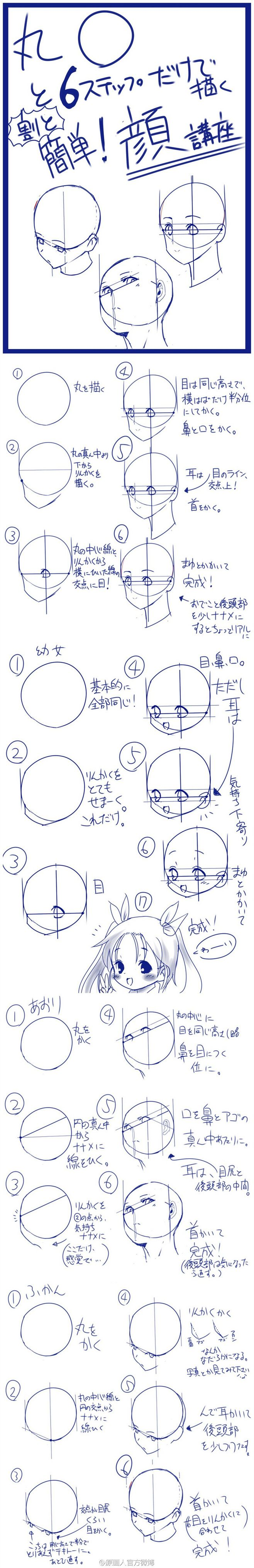 【P站教程】6个步骤画出3种常见角度的头...