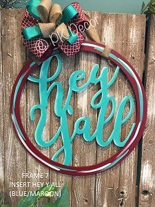HEY Y'ALL Door Hanger - Hey Yall Sign - Customize Colors - Mono-Frame 7-HeyYall