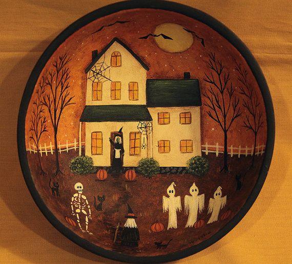 Halloween Art Primitive Wood Bowl Haunted Saltbox House