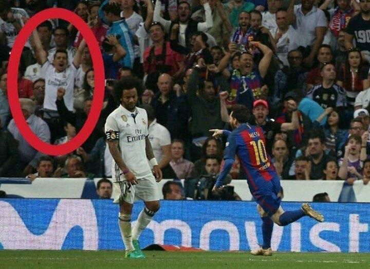Real Madrid Fan caught celebrating Messi's goal. http://ift.tt/2pZFSjW Love #sport follow #sports on @cutephonecases