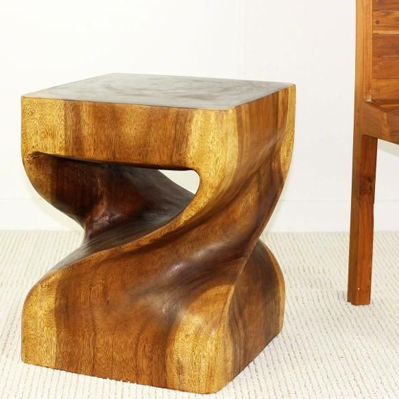 End table carved wood big twist duo Thai furnitur in a walnut oil finish