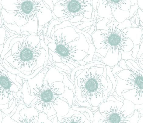 White Anemones - ROBIN'S EGG fabric by pattysloniger on Spoonflower - custom fabric