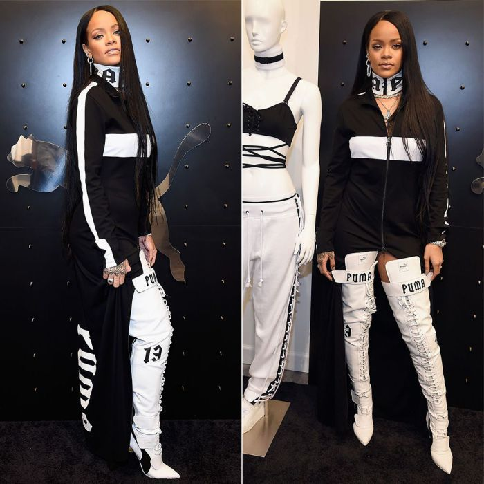 Rihanna Fenty Puma zip front striped dress, zip front logo choker, over-the-knee…