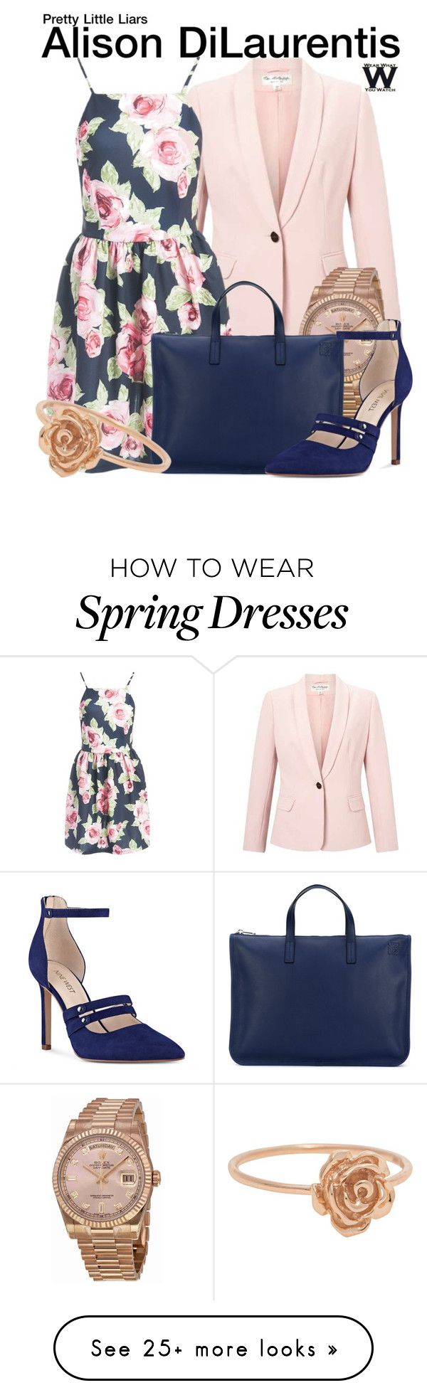 """Pretty Little Liars"" by wearwhatyouwatch on Polyvore featuring Miss Selfridge, Sans Souci, Rolex, Loewe, Nine West and television"