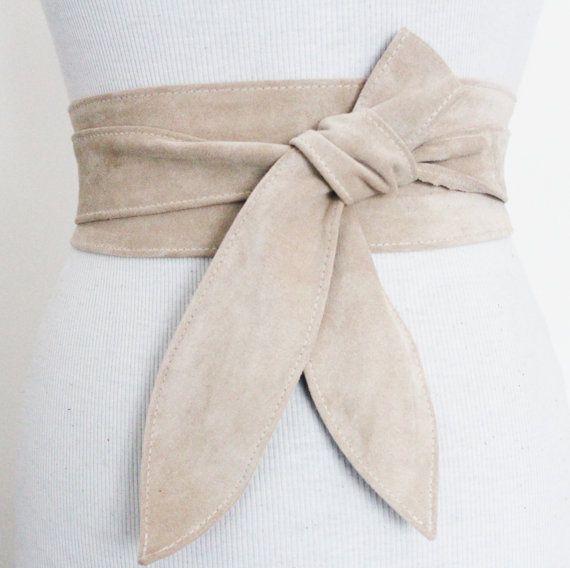 Cream Suede Leather Tulip Tie Obi Belt  Waist Tie by LoveYaaYaa