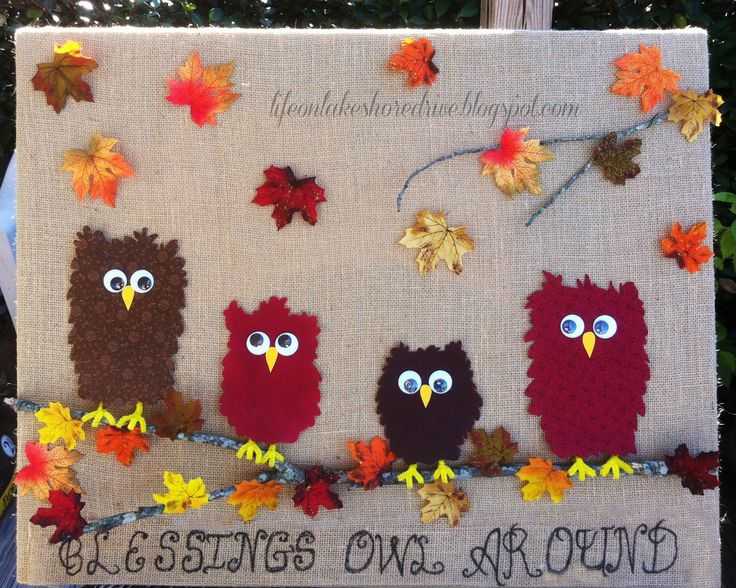 Fabric Owl &  Burlap Fall Decor Tutorial Thanksgiving Wall Art