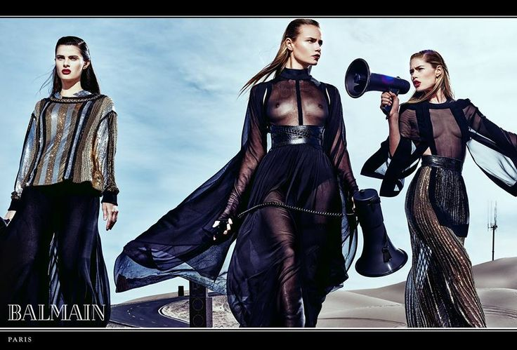 """The just released SS17 campaign visuals, capturing """"moments of a mysterious journey of a diverse cast of models, a nomadic Balmain army forcefully moving through an oneiric landscape"""", were lensed by Steven Klein."""