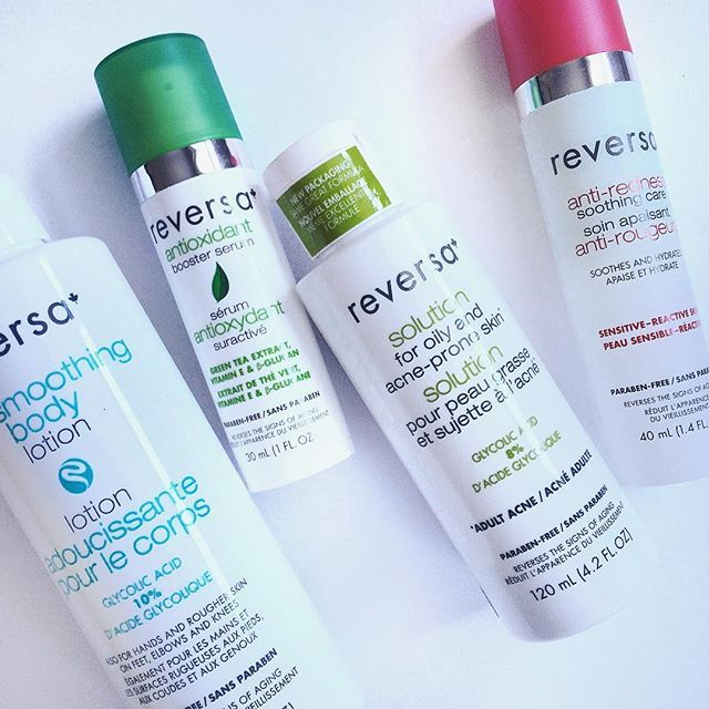My current skincare addiction  ! Reversa is a cruelty free  Canadian brand. They have amazing products for sensitive skin. The anti-redness cream is the first and the only product that helped me with rosacea! I also use the anti-oxidant serum at night. It's made with green tea, it's light, hydrating and smells fresh! The skin smoothing body lotion have 10% of glycolic acid in it and it works great for dry areas like elbows, foot & knees but also on keratosis pilaris!