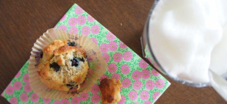 Blauwe bessen-citroen muffins (suikervrij, zuivelvrij, glutenvrij)
