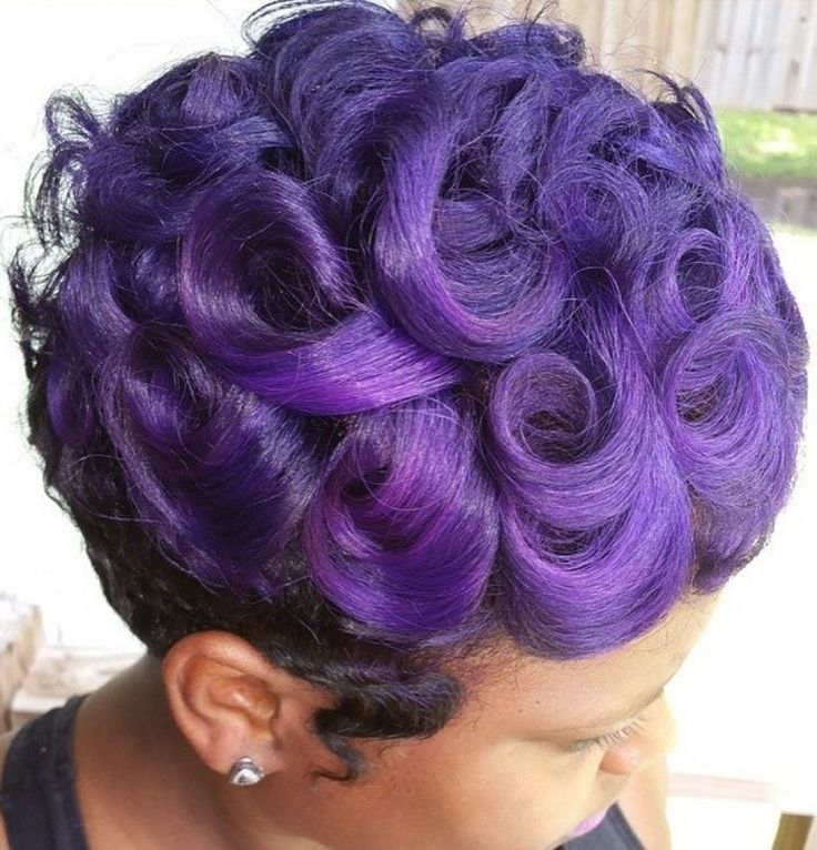 Pin curls with purple hair
