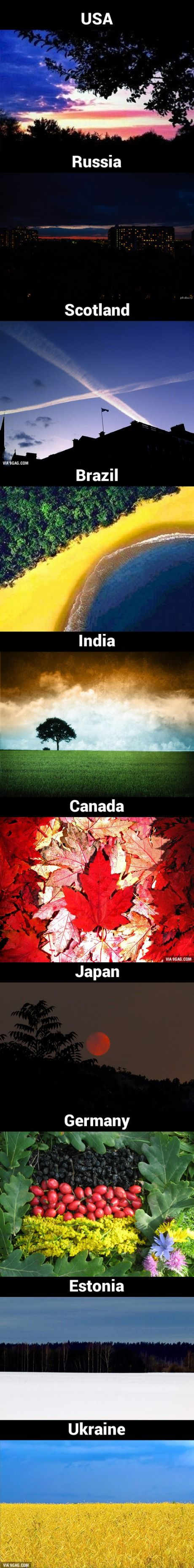 Flags of different countries drawn by nature