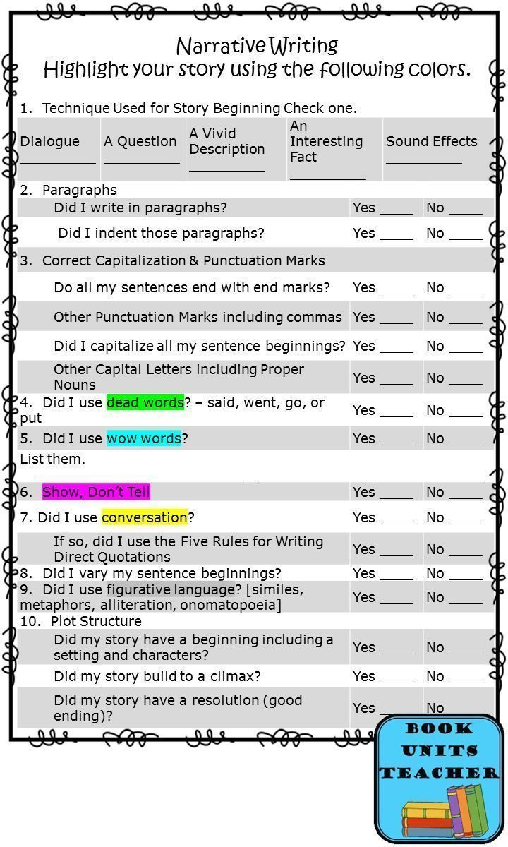 best images about narrative writing anchor have students evaluate their narrative writing this great checklist