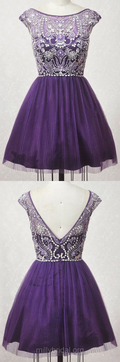 A-line Prom Dresses,Scoop Neck Purple Cocktail Dress,Tulle Short/Mini Homecoming Dresses,Crystal Detailing Girls Party Gowns