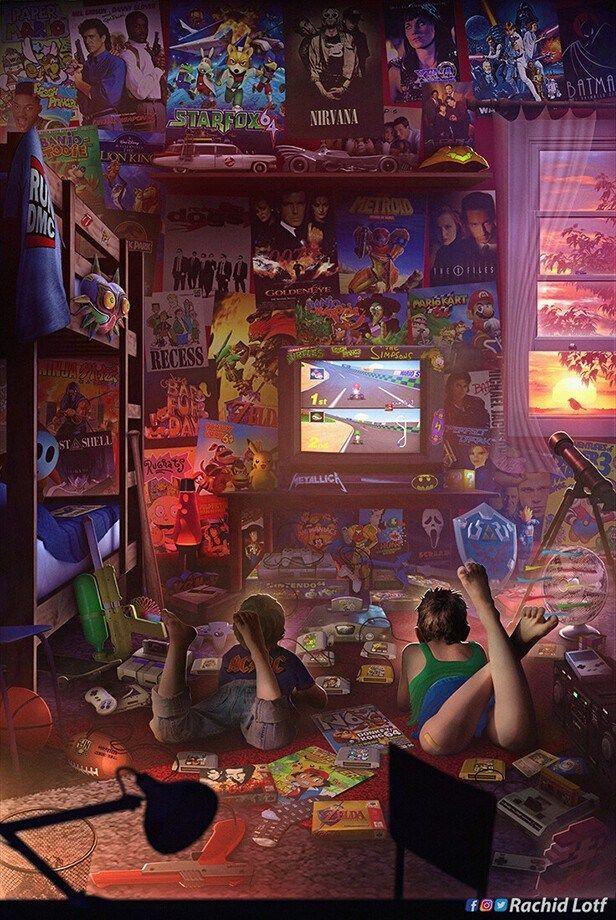 Les Illustrations Nostalgiques De Rachid Lotf Geek Art Net En 2020 Jeux Videos Retros Jeux Video Arts Salle Des Joueurs