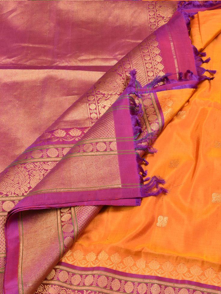 Yellow & Purple Gadwal Silk Sari with Annam Motifs