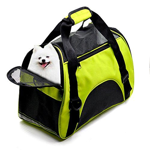 """Pet Carrier Dog Cat Soft Sided Airline Approved Small Puppy Travel Bag AIRLINE APPROVED SIZE: 17"""" X 8"""" X 12"""" for airplane travel. Fit under the seat as well as a handbag. Easy to carry and to get the pet in and out. Airline approved pet carrier for kittens, puppies and teacup breeds smaller than 8 POUNDS. ZIPPERED CLOSURES: The mesh panels allow dog cat to observe her surroundings within the safety of the carrier.It has an opening on one side that can be unzipped all the way"""