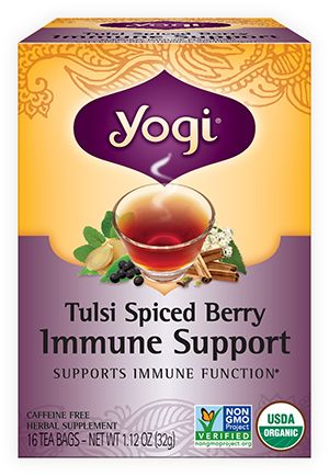 Yogi Tea Tulsi Spiced Berry Immune Support | Our Tulsi Spiced Berry Immune Support tea combines Tulsi Leaf and Elderberry to supply antioxidants and naturally support your immune function. We add warming herbs traditionally used in Ayurveda along with Blueberries for a delicious and comforting tea to support your overall health and well-being.*