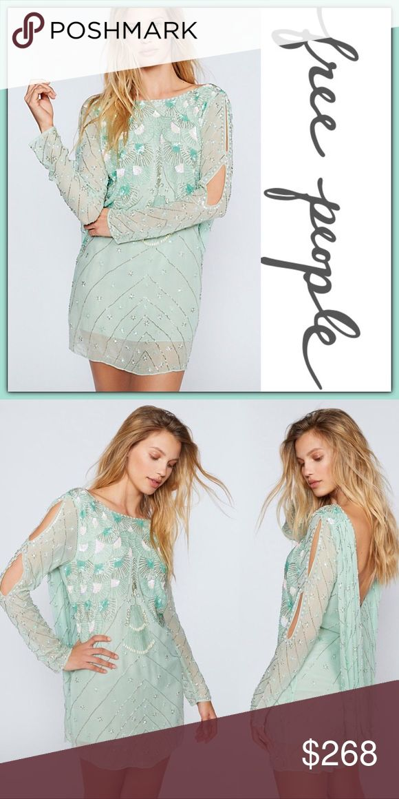 NWT Free People Dali Embellished Dress ➖NWT  ➖BRAND: Free People ➖SIZE: Medium  ➖STYLE: Dali Embellished Dress in Mint : Jen's Pirate Booty: Awe inspiring mini dress featuring sequins and embellishments all over. Femme cut outs along the sleeve and a skin baring scooped back with a draped detailing. Lined ➖MATERIAL: 100% Viscose    ❌NO TRADE   128409 Homecoming prom short  Entropycat Free People Dresses Long Sleeve