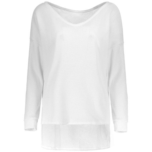 Loose One-Shoulder Sweater White S ($8.42) ❤ liked on Polyvore featuring tops, sweaters, one shoulder top, one sleeve sweater, white one shoulder top, loose fit tops and off one shoulder tops