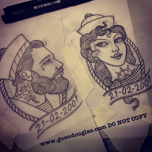 I LOVE this couple tattoo idea! I'd get his likeness and he'd get mine :)